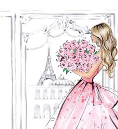 Fashion Illustration Speed Painting with Ink Illustration Paris, Dress Illustration, Fashion Illustration Chanel, Eiffel Tower Art, Eiffel Towers, Paris Wall Decor, Peony Painting, Painting Art, Paintings