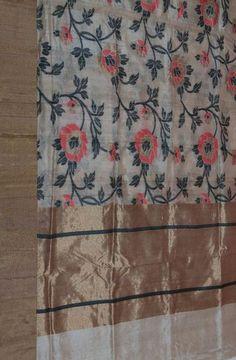Shop online for Off White Tussar Silk Handweaved Banarasi Saree Banarasi Sarees, Silk Sarees, Katan Saree, Sheer Linen Curtains, Sarees For Girls, Buy Sarees Online, Cotton Saree, Textile Prints, Indian Wear