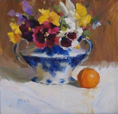 Pansies and flow blue Painting  - Pansies and flow blue Fine Art Print
