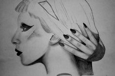 Pencil Drawing - Lady Gaga