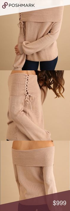 COMING SOON❗️Off the Shoulder Corset Top NWT.  Hazelnut.  Off the shoulder sweater with corset detail on shoulder and puff sleeves. Sweaters