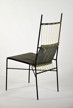 Paul McCobb; Painted Iron, Fabric and Cord Sidechair  for Arbuck, 1952.