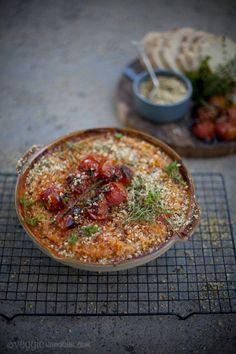 Baked Cherry Tomato Risotto w/ Hazelnut & Thyme Gremolata  I  Veggie Num Num  {Make healthier using quinoa?}