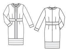 Burda 2014/01 [119] - Cette robe à grand motif floral et frise rayée structurante est une pièce pour experte. Les rayures des parements doivent tomber avec précision, aussi bien en hauteur qu'en largeur. Celles du parement à l'ourlet apportent une touche dynamique et moderne. T36-44
