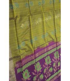 Yellow Pure Handloom Kanjeevaram Soft Silk Saree