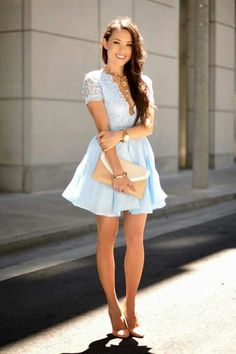 Baby Blue Lace Little Dress Styled By Hapa Time