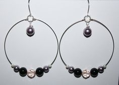Large Pearl and Crystal Memory Wire Hoop Earrings by JewelryIdea, $16.99