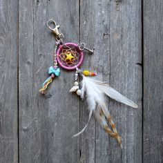 Boho Keychain  Dream Catcher  Bright  Small by VagaBoundPeople