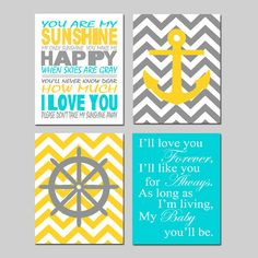 Nautical Nursery Quad - Set of Four 11x14 Prints - You Are My Sunshine, Chevron Anchor - Ships Wheel, My Baby You'll Be - Choose Your Colors