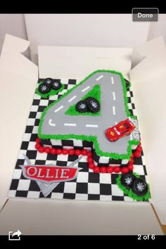 Cars style birthday cake number 4