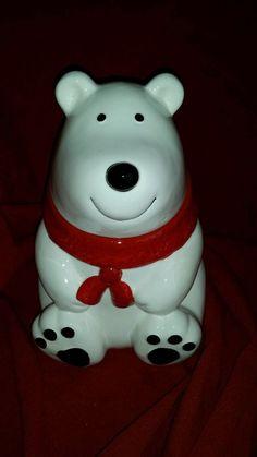 White Polar Bear Ceramic Cookie Jar Red Scarf #Walmart