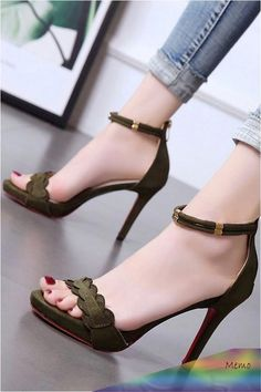 Women Army-green Ankle Strap Open Toe Stiletto High Heel Sandals - 5 in 2020 High Heels Outfit, Hot High Heels, High Heels Stilettos, Womens High Heels, Stiletto Heels, Sandals Outfit, Black Heels, Strappy Sandals Heels, Cute Sandals