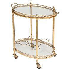 French Vintage Oval Gilt Brass & Glass Bar Cart