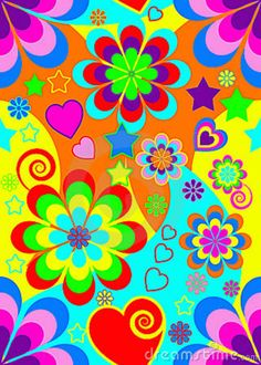 70s Hippie Art | ... hippie era for greeting cards, postcard, fabric, wrapping paper and