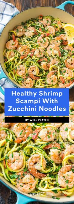 Though we love indulging in the decadent seafood dish as is (piled high on pasta), we love that this lightened-up Healthy Shrimp Scampi With Zucchini Noodles means we can enjoy it even more. Zucchini noodles add just the right amount of crunch, whi Low Carb Shrimp Recipes, Seafood Recipes, New Recipes, Healthy Recipes, Shrimp With Zucchini Noodles, Zoodles Recipe Low Carb, Shrimp Recipes With Zucchini Noodles, Recipes With Shrimp, Heathly Dinner Recipes