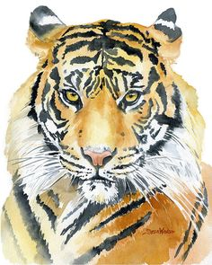 Tiger Watercolor Painting 5 x 7 Giclee Fine Art by SusanWindsor