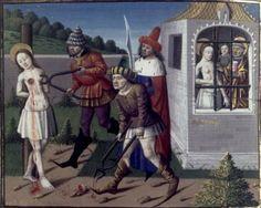 Sainte Agathe en prison. Martyre de sainte Agathe. Speculum historiale. V. de Beauvais. XVe