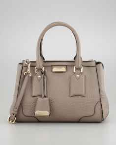 Small Padlock Satchel Bag, Pale Taupe Brown by Burberry at Neiman Marcus.
