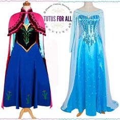 Adult Frozen Anna or Elsa Dress Costume Cosplay Costume
