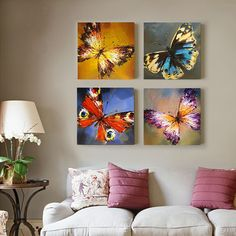 Abstract Beautiful Butterfly Oil Painting Hand-painted On Canvas Wall Pictures F. - Home & Garden Products - - Abstract Beautiful Butterfly Oil Painting Hand-painted On Canvas Wall Pictures F. - Home & Garden Products Living Room Canvas, Living Room Art, Mini Canvas Art, Wall Canvas, Diy 2019, Butterfly Painting, Butterfly Canvas, Living Room Pictures, Wall Pictures