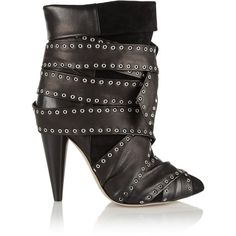 Isabel Marant - Aleen Belted Leather And Suede Ankle Boots ($594) ❤ liked on Polyvore featuring shoes, boots, ankle booties, black, black suede boots, ankle boots, short black boots, black leather booties and black high heel booties
