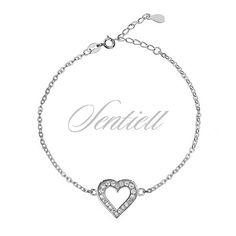 Bransoletka celebrytek pr. 925 serduszko z cyrkoniami - Biżuteria srebrna dla każdego tania w sklepie internetowym Rejel