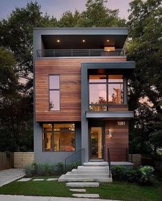 Modern Homes Front House Architecture - Modern homes front _ moderne häuser vorne _ façade de maisons modernes _ ca - House Front Design, Tiny House Design, Modern House Design, Modern Contemporary House, Rustic Modern, Modern Wood House, 3 Storey House Design, Wood House Design, Modern House Plans