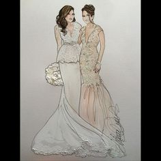Two beautiful Sisters!! @kaputachya @oohlala_events Bride wears @karozabridal MOH wears @jovanifashions #realbride #sisters #maidofhonor #bridalparty #bridalillustration For Illustration enquiry- please contact- karenorrillustration@gmail.com
