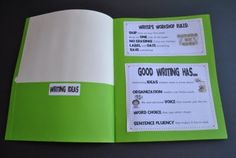 Writer's Workshop folders (2 attached together for 4 pockets) Writers Workshop Folders, Writing Folders, Writer Workshop, Math Folders, Kindergarten Writing, Teaching Writing, Teaching Ideas, Teaching Strategies, Classroom Language