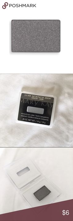Mary Kay Silver Satin Eyeshadow Shimmery gray color, swatched once, but never used. Mary Kay Makeup Eyeshadow