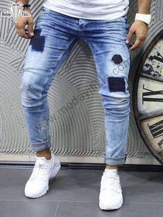 Yamalı Mavi Kot Pantolon