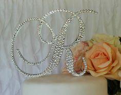 """5"""" Monogram Wedding Cake Topper with Swarovski Crystals in any letter A B C D E F G H I J K L M N O P Q R S T U V W X Y Z"""