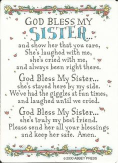 "God Bless My Sister Prayer Card Single laminated prayer card features a special message for sisters. Measures 2.5"" x 3.5""."