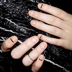nude nails (or bare?) with white and black stripes