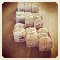 "Bath tea! Bathsalt in little teabags with 3 flavours: Rose and Rosalina - Lavender - Calendula and Ylangylang from ""Waar de hemel de aarde raakt"""