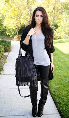 Carli Bybel..Casual Fall Look : Fringed Bag
