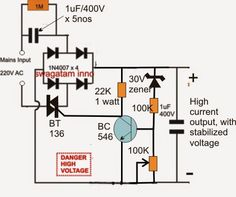 The simple configuration of a transformerless power supply circuit presented below is able to provide high current at any assigned fixed voltage level. The idea seems to have solved the […] Electronics Mini Projects, Electronic Circuit Projects, Electronics Basics, Hobby Electronics, Electrical Projects, Electronic Engineering, Electrical Engineering, Ac Circuit, Electric Circuit