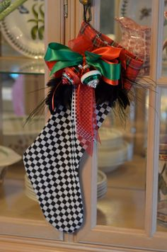 B&W Checkered Stocking with Red/Green by prettylittlethings46