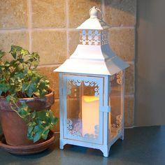 LumaBase 2-piece Metal Lantern & LED Pillar Candle Set