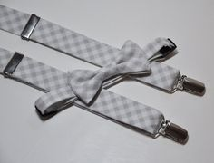 Grey Gingham Bow Tie and Suspenders (great seller for custom ties, bags and other accessories! Tux Shirt, Boy Fashion, Mens Fashion, Bowtie And Suspenders, Church Outfits, Church Clothes, Custom Ties, Sharp Dressed Man, Suit And Tie