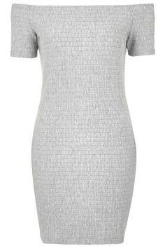 PETITE Bardot Textured Bodycon Dress
