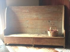 OH!  This bench is GORGEOUS!!!  LOVE the shape of it and the color of the old, worn wood!!!!  ---Early settle bench❤