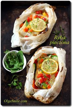 Ryba pieczona Polish Recipes, My Recipes, Fish And Chicken, Baked Fish, Fish And Seafood, Fresh Rolls, Side Dishes, Food And Drink, Dinner