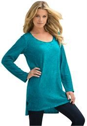 Plus Size Garment Washed Scoop Neck Tunic