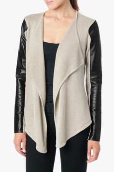 Leather Sleeve Knit Cardigan In Taupe | 7 For All Mankind