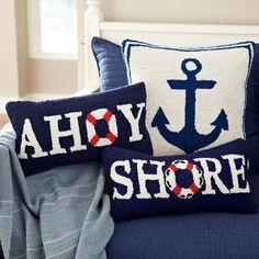Love these beachy nautical pillows from Birch Lane