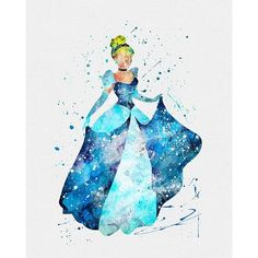 Cinderella Watercolor Art Print ❤ liked on Polyvore featuring home, home decor, wall art, disney princess wall art, princess wall art, disney wall art, watercolor wall art and disney home decor