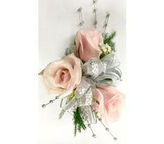 3 Pink Sweetheart Roses w/Silver Beads Wristlet