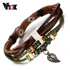 Brown Genuine Leather Bracelet Mens Bangle Stainless Steel Fashion Retro Anchor Charm Jewelry For Women