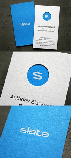 Striking Block Colour Letterpress And Die Cut Business Card Design